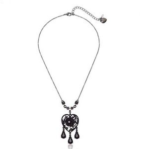 Betsey Johnson Black Heart Lace Necklace with Rose